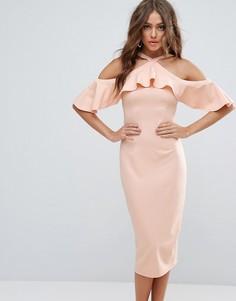 Платье миди с открытыми плечами и оборкой Girl In Mind - Бежевый