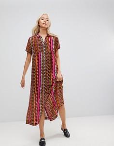 Платье-рубашка макси с принтом Maison Scotch - Красный