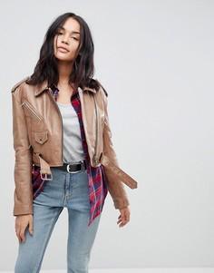 Кожаная куртка в винтажном стиле ASOS - Бежевый