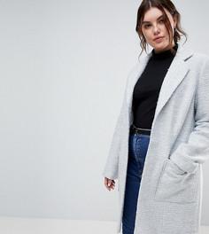 Фактурное пальто узкого кроя ASOS CURVE - Серый