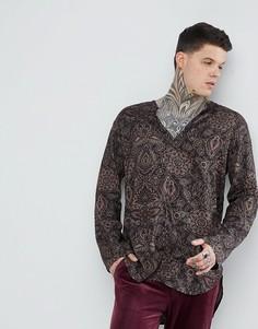 Рубашка классического кроя с V-образным вырезом и принтом пейсли ASOS - Черный