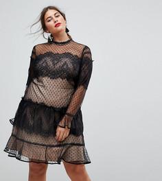 Кружевное платье мини с длинными рукавами в стиле пэчворк ASOS CURVE - Черный