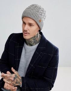 Серая шапка-бини вязки косами Dead Vintage - Серый