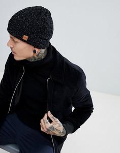 Темно-серая шапка-бини вязки косами в крапинку Dead Vintage - Черный