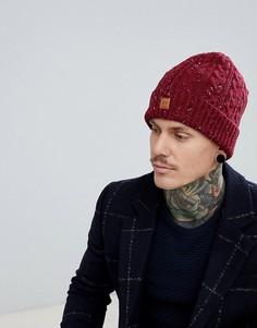 Бордовая шапка-бини вязки косами в крапинку Dead Vintage - Красный