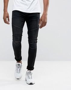 Черные байкерские джинсы скинни с рваной отделкой и напылением DML - Черный