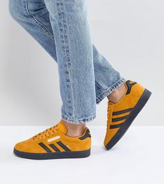Желтые кроссовки с темной каучуковой подошвой adidas Originals Gazelle Super - Желтый