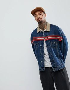 Свободная джинсовая куртка с воротником из искусственной замши ASOS - Синий