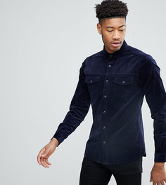 Вельветовая рубашка в стиле вестерн узкого кроя ASOS TALL - Темно-синий