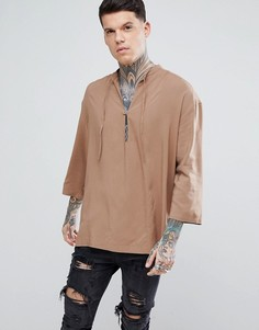 Рубашка оверсайз из вискозы без застежки ASOS - Коричневый
