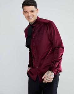 Бархатная рубашка классического кроя с завязкой ASOS - Красный