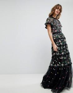 Платье с цветочной вышивкой, высоким воротом и многослойной юбкой Needle & Thread - Черный