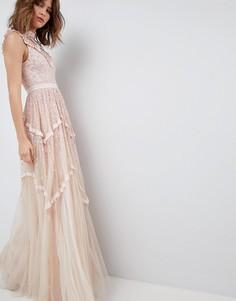 Платье макси с блестящей отделкой Needle & Thread - Розовый