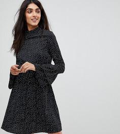 Платье в горошек с высоким воротом Influence Tall - Черный