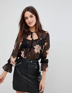 Блузка с цветочным принтом и завязкой Influence - Черный