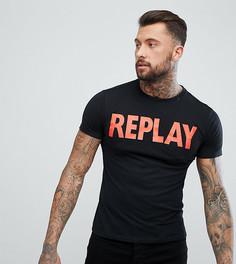 Черная футболка с контрастным логотипом Replay - Черный