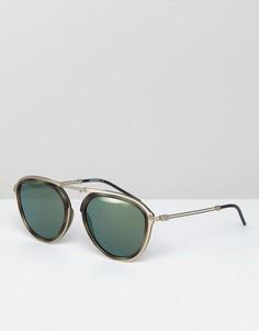 Золотистые круглые солнцезащитные очки со стеклами 54 мм Emporio Armani 0EA2056 - Золотой