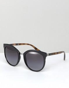 Круглые солнцезащитные очки в черной оправе Emporio Armani 0EA2055 55 мм - Черный