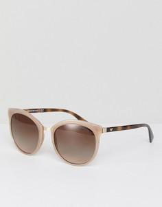 Круглые солнцезащитные очки телесного цвета 55 мм Emporio Armani 0EA2055 - Коричневый