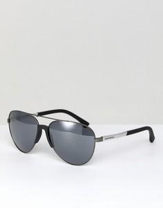 Черные солнцезащитные очки-авиаторы Emporio Armani 0EA2059 61 мм - Черный