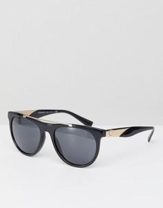 Круглые солнцезащитные очки с планкой Versace 0VE4347 56 мм - Черный