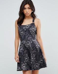 Жаккардовое короткое приталенное платье Hell Bunny - Черный