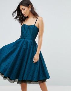 Платье для выпускного в горошек Hell Bunny - Синий