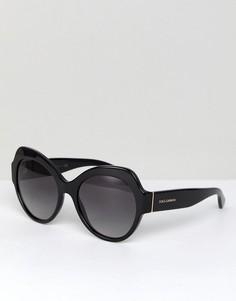Черные круглые солнцезащитные очки 56 мм Dolce & Gabbana 0DG4320 - Черный