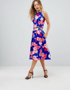 Расклешенная юбка миди с цветочным принтом Paper Dolls - Мульти
