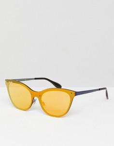 Золотисто-розовые солнцезащитные очки кошачий глаз Ray-Ban 0RB3580 - 43 мм - Золотой
