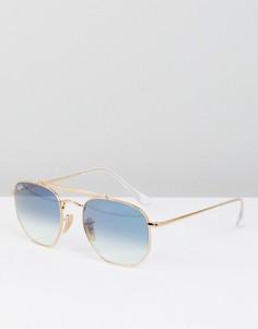 Солнцезащитные очки-авиаторы в шестиугольной оправе с синими стеклами Ray-Ban 0RB3648 54 мм - Золотой