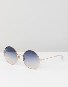 Круглые солнцезащитные очки Ray-Ban 0RB3592 - 55 мм - Золотой