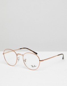Круглые золотистые очки с прозрачными стеклами 49 мм Ray-Ban 0RX3582V - Золотой