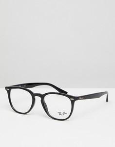 Черные очки-вайфареры с прозрачными стеклами 50 мм Ray-Ban 0RX7159 - Черный
