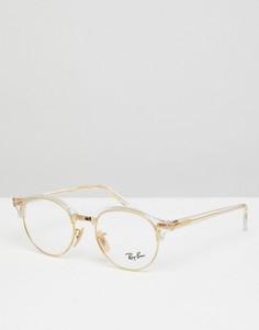 Круглые очки с прозрачными стеклами Ray-Ban 0RX4246V - 49 мм - Золотой