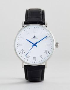 Классические часы с ремешком из искусственной крокодиловой кожи и синими стрелками ASOS - Черный