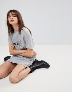 Платье-футболка с надписью Santa Cruz и открытой спиной Uncivilised - Серый