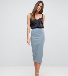 Удлиненная юбка-карандаш с завышенной талией ASOS TALL - Серый