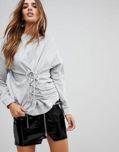 Свитшот с корсетом Vero Moda - Серый