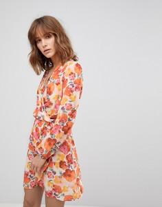 Платье с длинными рукавами и запахом Love - Мульти