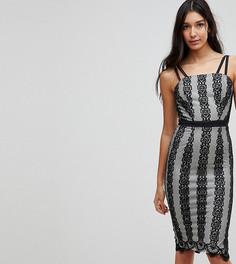 Платье миди с контрастным кружевом Little Mistress Tall - Черный