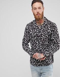 Черная рубашка с анималистическим принтом AllSaints - Черный