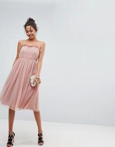 Платье миди из тюля с оборками ASOS - Розовый