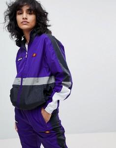 Спортивная куртка в стиле ретро с контрастными вставками и логотипами на груди Ellesse - Мульти