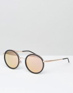 Круглые солнцезащитные очки с зеркальными стеклами Emporio Armani - Черный
