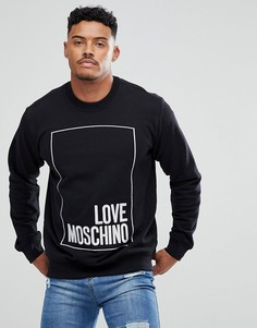 Черный свитшот с крупным вышитым логотипом Love Moschino - Черный