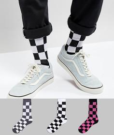 Набор из 3 пар спортивных носков в клетку ASOS - Мульти