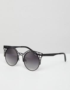 Солнцезащитные очки кошачий глаз с вырезами Quay Australia - Черный