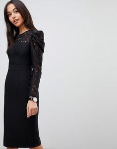 Платье-футляр миди с кружевным топом ASOS - Черный