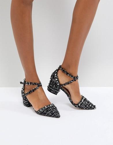 Туфли на каблуке из букле с отделкой Miss KG Ava - Черный